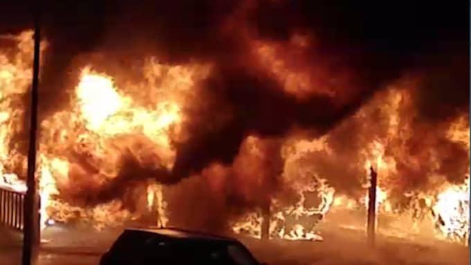 Fem bilar har förstörts i en kraftig brand Foto: Niklas Malmstedt