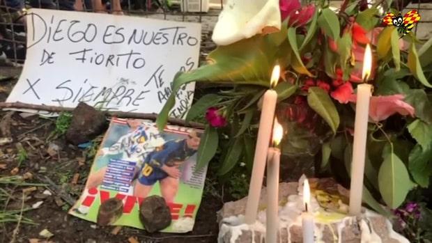Fans samlas utanför Maradonas barndomshem