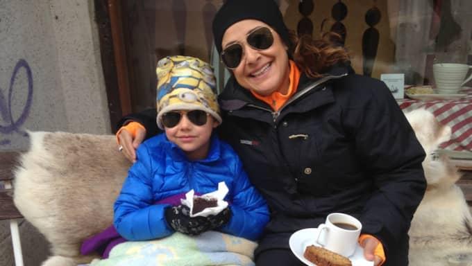 Anna Frisk, sonen Simon 7 år. Foto: Privat