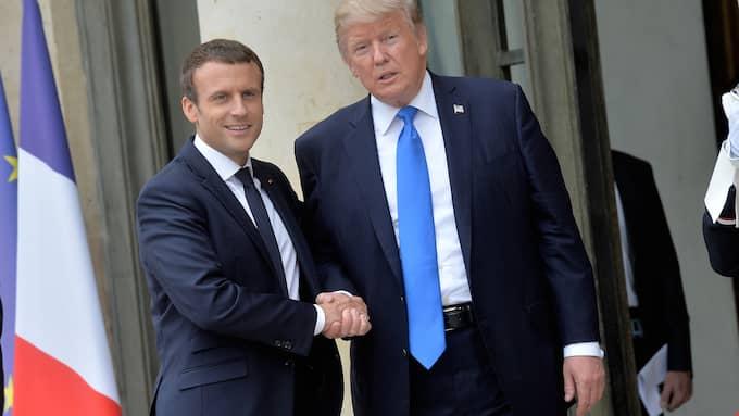 Trump och Macron har visat upp en varm gemenskap under amerikanens besök i Paris – framför allt jämfört med deras första möte, som präglades av spänningar. Foto: VEEREN / BESTIMAGE / /IBL BEST IMAGE