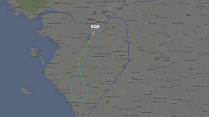 Landningen var inte planerad och skedde på grund av någon form av tekniskt problem, enligt Swedavias pressjour. Foto: Flightradar24.Com