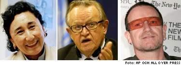 Ahtisaari och bono nominerade till fredspriset