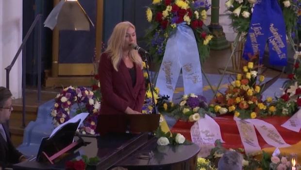 Jessica Andersson sjunger på Frank Anderssons begravning