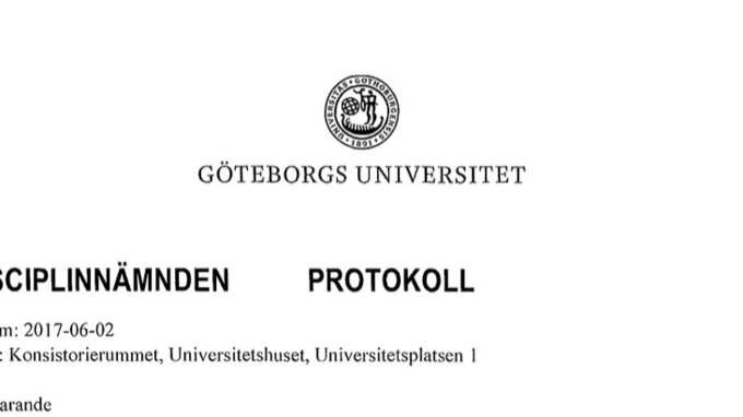 Disciplinnämnden vid Göteborgs universitet var enig i sitt beslut Foto: GT