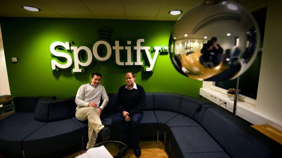 """Då det begav sig – bara några veckor efter lanseringen i oktober 2008. Grundarna Martin Lorentzon och Daniel Ek hade stora planer för Spotify. """"Vi vill vara den bästa musikspelaren på marknaden. Inom 2-3 år tror jag vi har 20 miljoner användare"""", sa Martin Lorentzon år 2008. Foto: Magnus Hallgren / DN"""