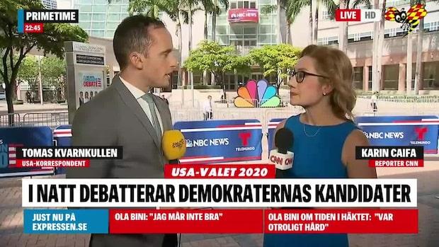 Hör Tomas Kvarnkullen och CNN:s Karin Caifa inför debatten