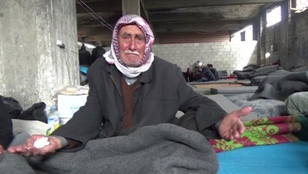 Kassem Hamadé på plats i Nubl, Syrien, dit tusentals människor flytt