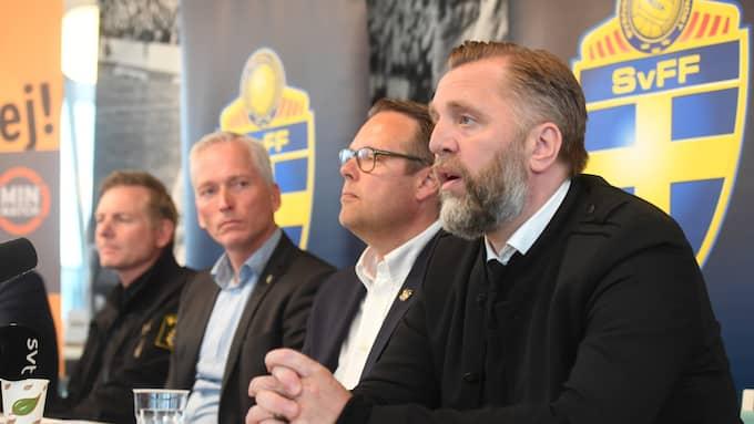 AIK:s och SvFF:s presskonferens om matchfixningsförsöket. Foto: FREDRIK SANDBERG/TT
