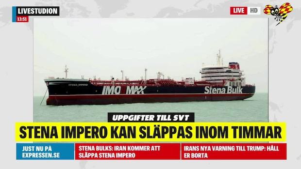 Iran kommer släppa svenska fartyget