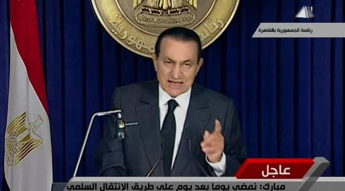 Egyptens president Hosni Mubarak höll ett tv-tal till folket på torsdagskvällen. Foto: AP