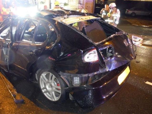 Mannen i bilen hade änglavakt under den dramatiska olyckan.