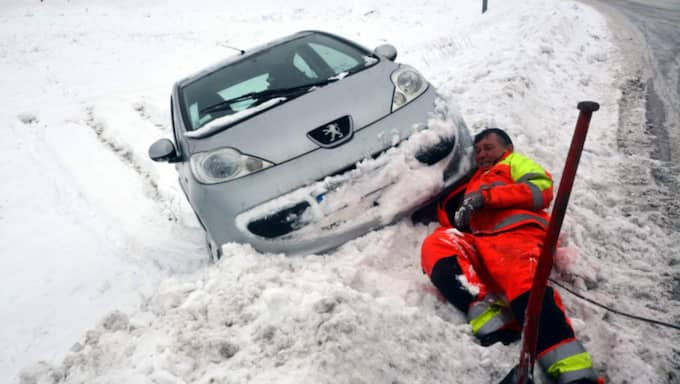 Den här bilen åkte av vägen mellan Spekeröd och Kode på söndagen. Bärgaren Kjell Gustavsson ryckte ut.
