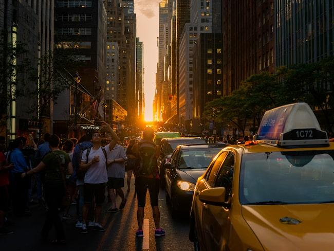 42:a gatan är den mest populära platsen för att se solnedgången.