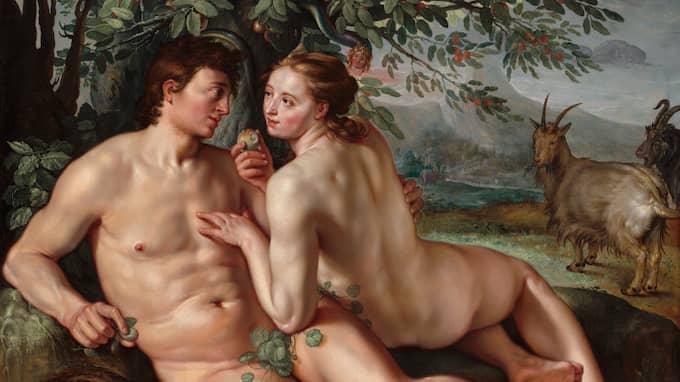 """Skam. Adam och Eva porträtterade av Hendrick Goltzius i """"Människans fall"""" (1616)."""