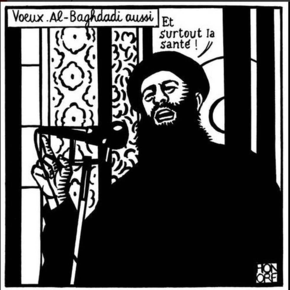 Charlie Hebdo publicerade en satirteckning på ledaren för IS, Abu Bakr al-Baghdadi, natten mot idag.