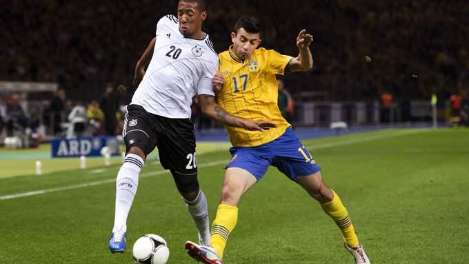 Behrang Safari i mirakelmatchen mot Tyskland i kvalet till EM 2014 då Sverige vände 0–4 till 4–4 på Olympiastadion i Berlin. Foto: NILS JAKOBSSON