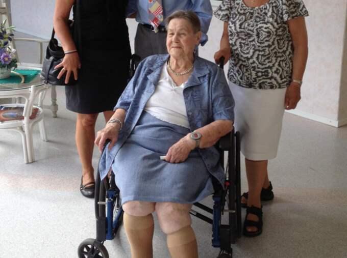 """""""Jag är väldigt tacksam"""", säger 90-åriga Karin Rask som bor på Frödala äldreboende. Foto: Privat"""