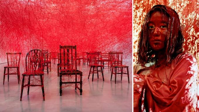 Ur installationer av Chiharu Shiotas. Foto: Hossein Sehatlou/Göteborgs konstmuseum