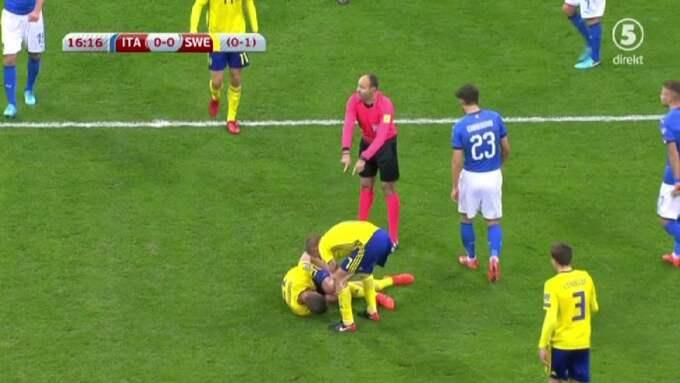 Johansson blir liggandes, och ersattes av Gustav Svensson. Foto: Kanal 5