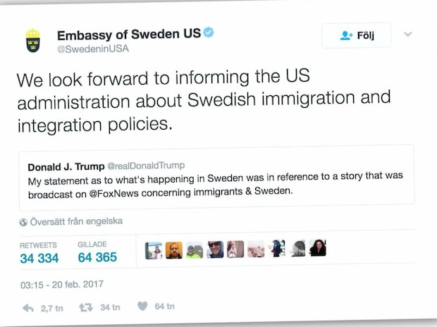 Svaret till Donald Trump efter Sverige-utspelet