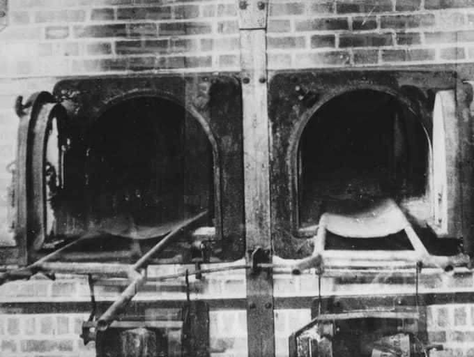 Nazisterna försökte förstöra alla bevis från Förintelsen. De sprängde gaskamrar och brände arkiv. Här syns två ugnar från Auschwitz 1943. Foto: GETTY IMAGES HULTON ARCHIVE