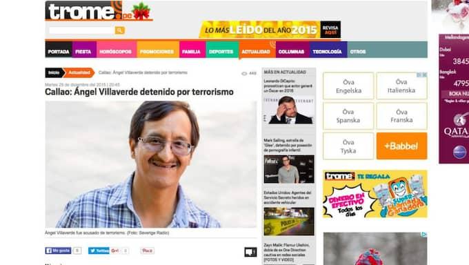 Peruanska tidningar skriver om den svenske politikern. Foto: Skärmavbild