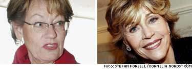 Nu får Gudrun Schyman stöd i valrörelsen av Jane Fonda.