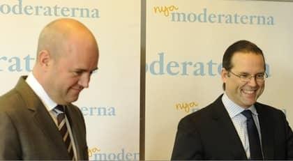 Fredrik Reinfeldt och Anders Borg. Foto: Tommy Pedersen