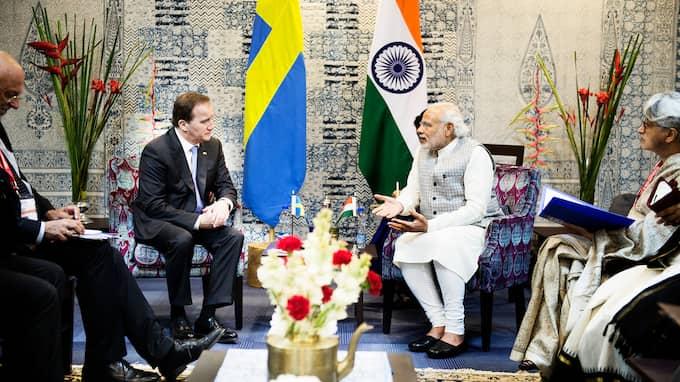 Löfven och Modi möttes i Indien 2016 - nu kommer den indiska premiärministern till Sverige. Foto: ANNA-KARIN NILSSON