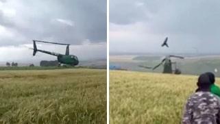 Här kraschar helikoptern inför chockade vittnen