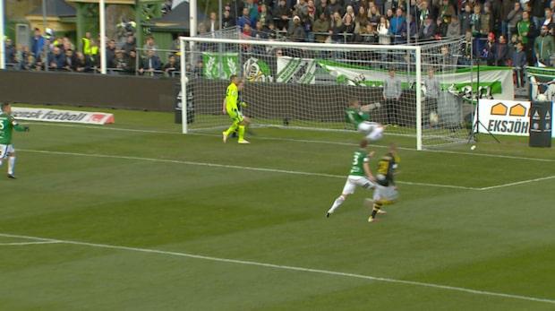 Här gör Johan Blomberg 1-0 för AIK
