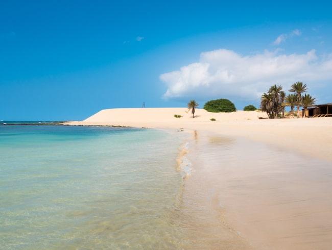 Stranden Praia de Chaves på Boavista på Kap Verde.
