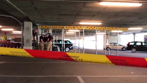 Rasrisk i parkeringsgarage i Angered i Göteborg