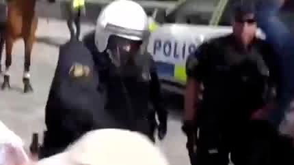 Polis använde batong mot demonstranter