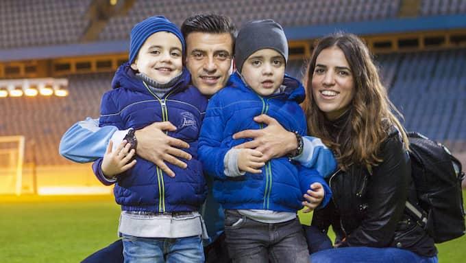 Familjen Safari på besök på pappas arbetsplats, Swedbank stadion. Emiliano, Behrang, Leon och Ivana. Foto: ANDY SVENSSON