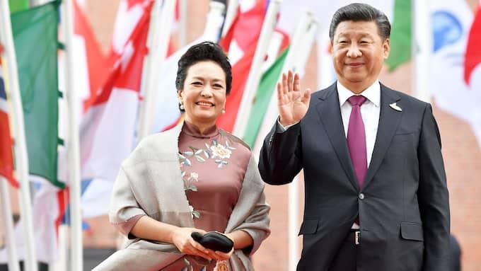 Kinas president med hustru Peng Liyuan, G20-mötet, Hamburg. Foto: LUKAS BARTH / EPA / TT / EPA TT NYHETSBYRÅN