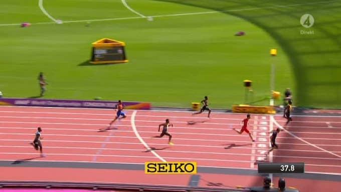 Jamaica vann överlägset i semifinalen i stafetten. Foto: TV4/Skärmdump