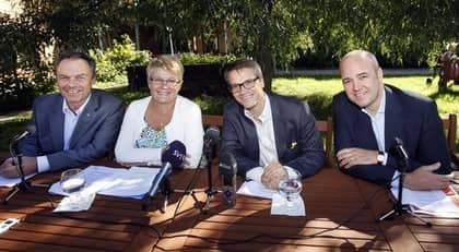 Jan Björklund, Maud Olofsson, Göran Hägglund och Fredrik Reinfeldt. Foto: Sören Andersson / Scanpix