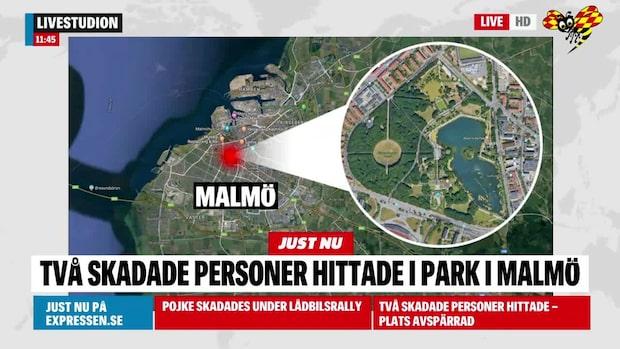 Två personer hittade skadade i Pildammsparken