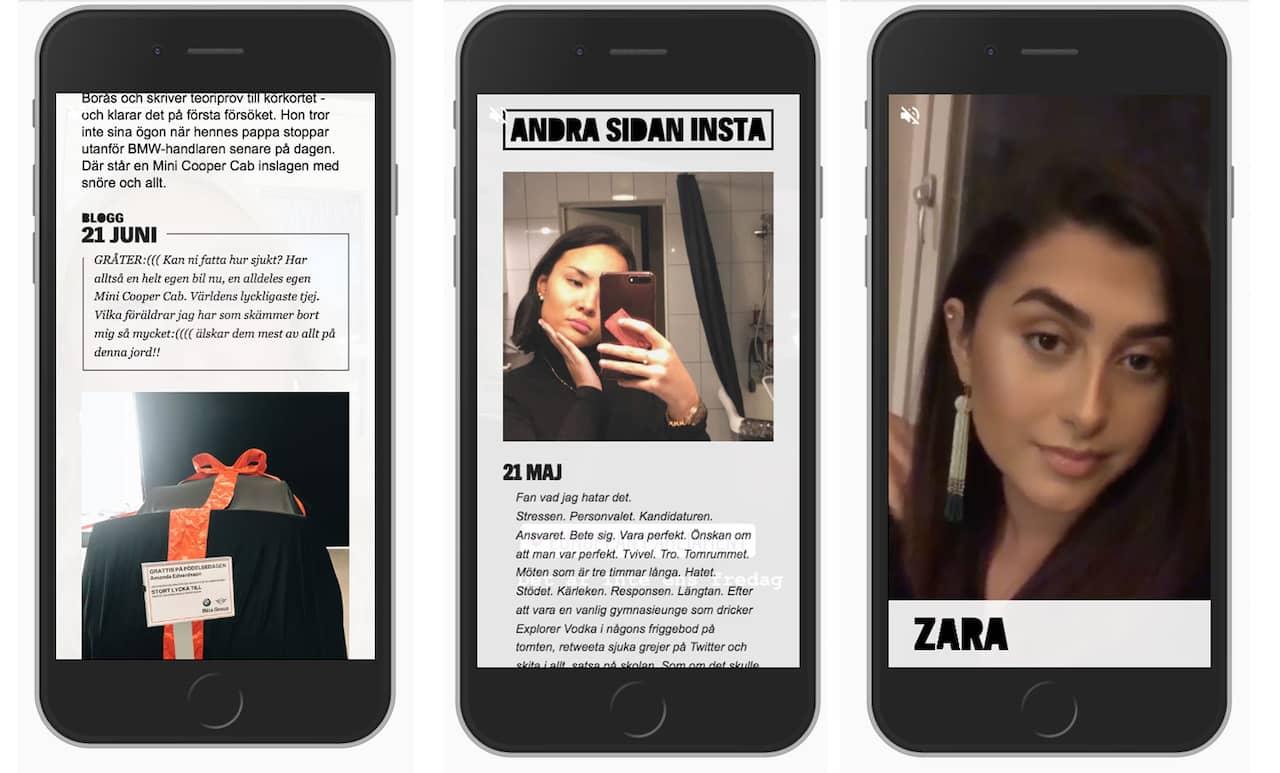 I reportaget fick man följa Amanda, Anna och Zara. Tre unga kvinnor som berättade om sina liv.