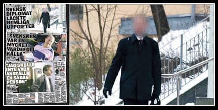 FICK JOBBA KVAR. Den spionmisstänkte diplomaten på väg till jobbet på UD i Stockholm. Han kan jobba kvar eftersom det politiska spionage han misstänktes för inte är straffbart i Sverige med dagens lagstiftning.