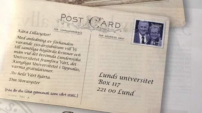Uppsala universitet, grundat 1477, gratulerar Lund på 350-årsdagen och skickar med en hälsning med glimten i ögat. Foto: UPPSALA UNIVERSITET