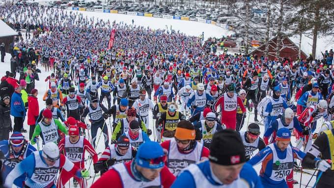 Starten av Vasaloppet är alltid spektakulär, med 15 800 åkare. Foto: HENRIK HANSSON / HENRIK HANSSON EXPRESSEN