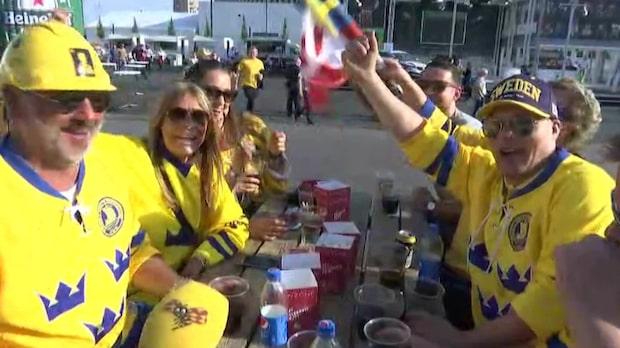 Svenskarna laddar för seger mot Lettland
