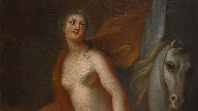 """""""Athena och Pegasus"""", en annan målning av Georg Engelhard Schröder med bara bröst. Foto: Wikimedia Commons"""