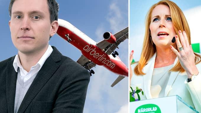 Om Annie Lööfs linje får råda kan det dröja till 2028 innan Sverige har skarpa åtgärder på plats för att åtminstone dämpa flygets utsläppsökning, skriver Patrik Kronqvist.