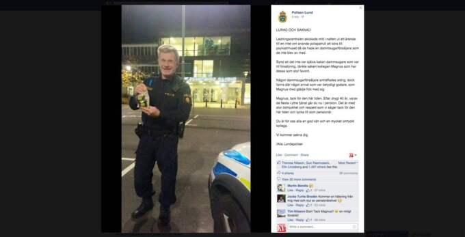 Från och med torsdag kan Lundapolisen Magnus Löfberg titulera sig pensionär. Efter 44 år inom polisen passade kollegerna på att skicka honom på ett uppdrag utöver det vanliga