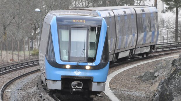 Stopp på röda linjen i Stockholms tunnelbana