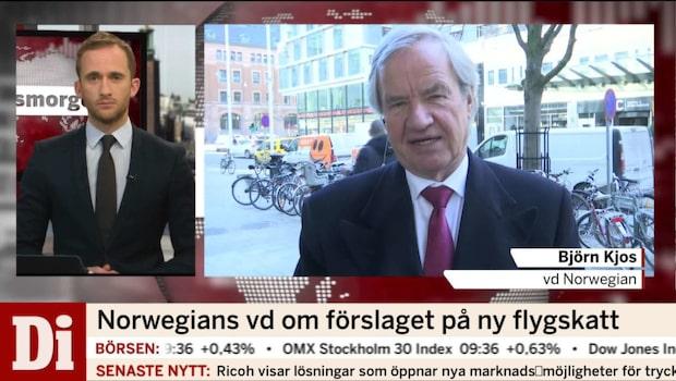 """Norwegians vd om flygskatten: """"Flygplatser kan läggas ner"""""""