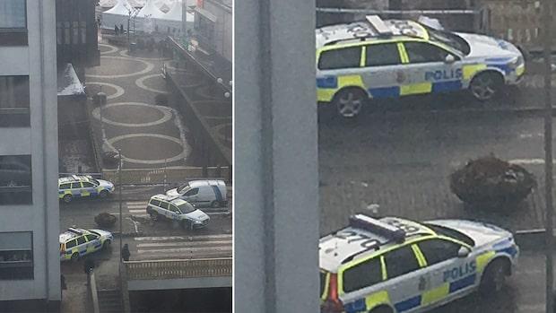 Stor polisinsats efter larm från bank